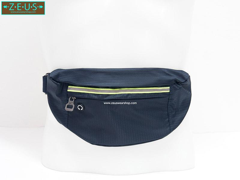 กระเป๋าคาดเอววิ่ง กันน้ำ สีกรม Size L มี 3 ซิป เสียบหูฟังได้