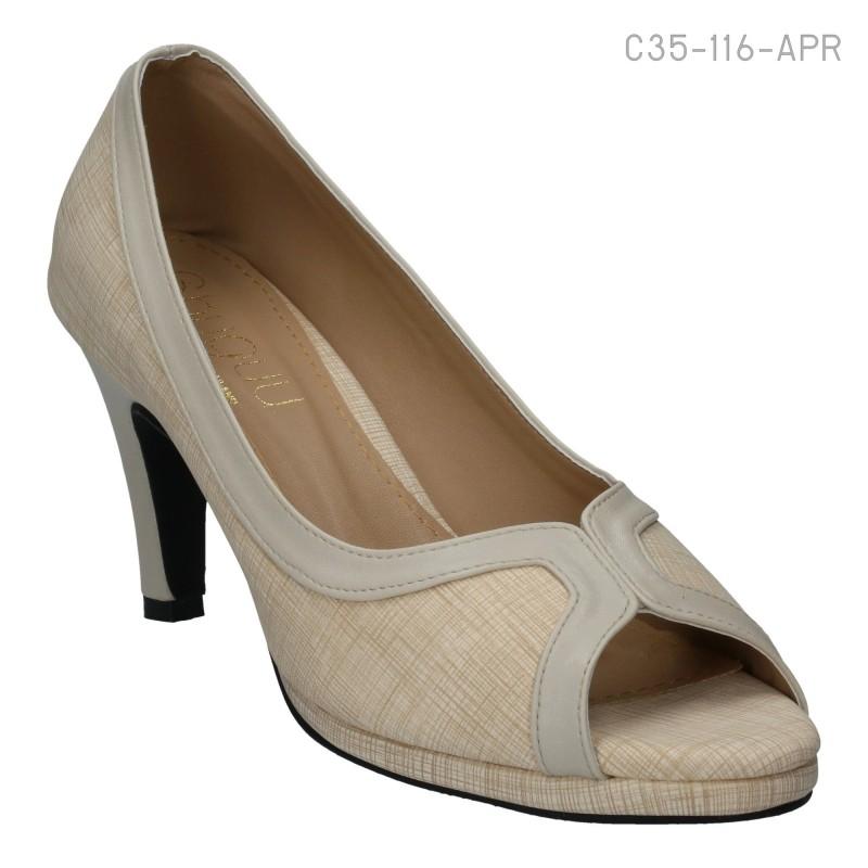 รองเท้าส้นสูง หุ้มส้น ปลายเปิด ใส่แล้วดูเพรียว (สีแอปริคอท )