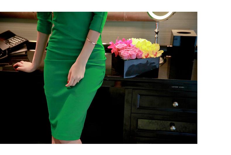 รับตัวแทนจำหน่ายชุดเดรสแฟชั่นเกาหลีสีเขียวกระโปรงยาวสวยๆ