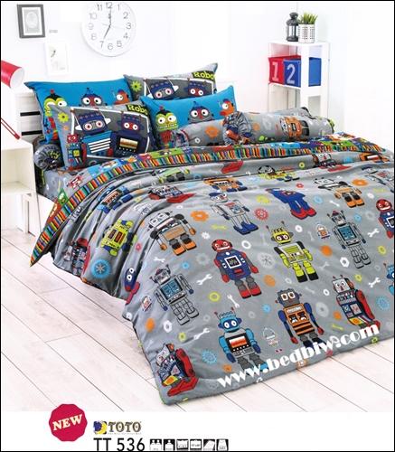 toto ชุดเครื่องนอน ผ้าปูที่นอนลายหุ่นยนต์ โลบอส TT536