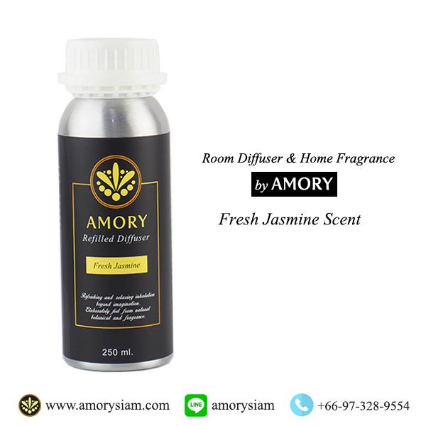 กลิ่น Fresh Jasmine มะลิ 250 ml. Refilled diffuser รีฟิลน้ำหอมอโรม่าปรับอากาศ