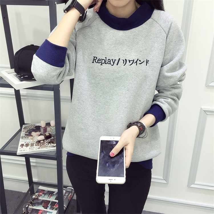 เสื้อกันหนาวสีเทาแขนยาวสไตล์เกาหลี