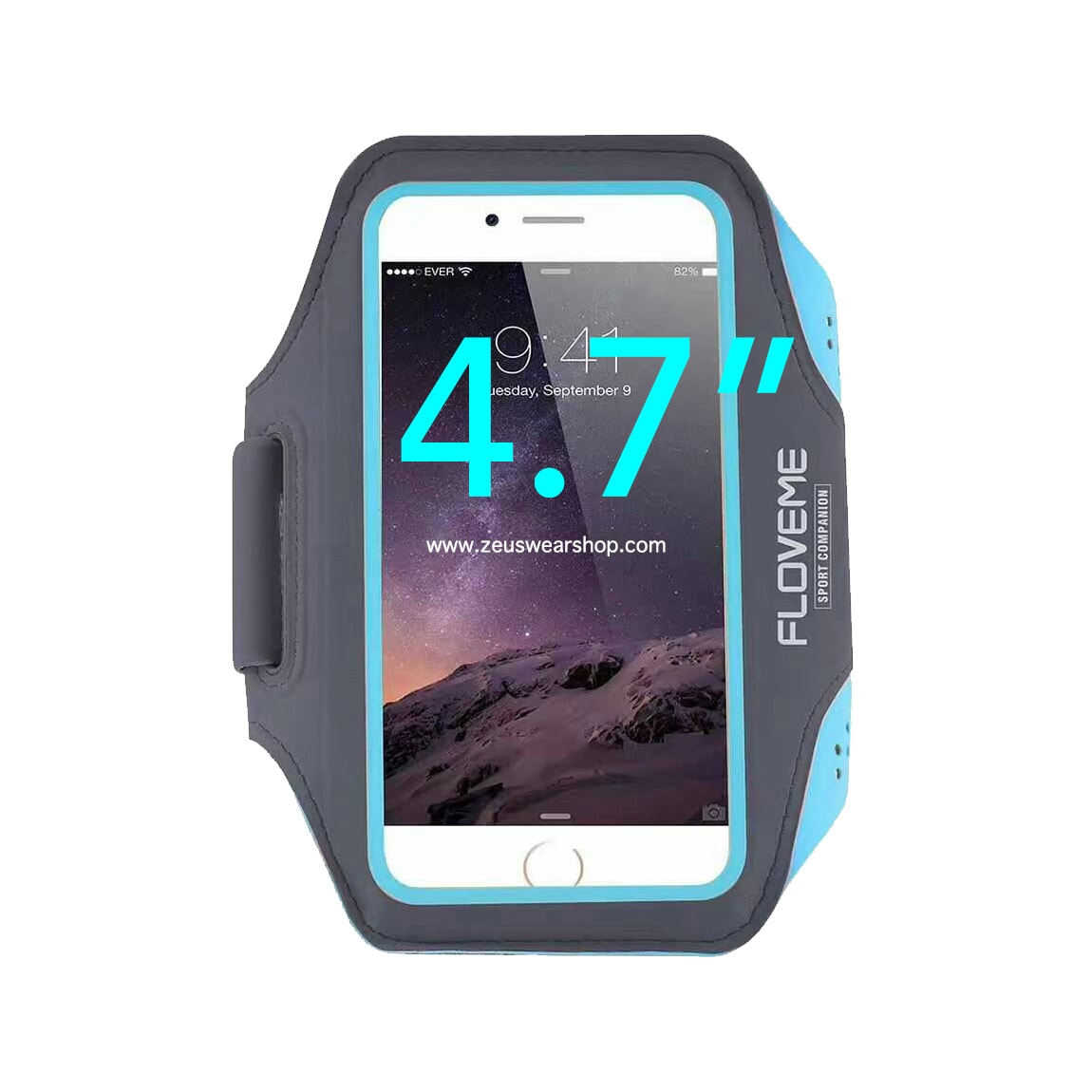 สายรัดแขนวิ่ง สีฟ้า Armband ใส่โทรศัพท์หน้าจอ 4.7 นิ้ว
