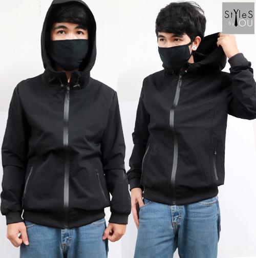 &#x2642 เสื้อกันหนาวสีดำ เสื้อคลุมมีฮูดสีดำ เสื้อแจ็คแก็ตมีฮูดสีดำในสไตล์เรียบๆ สุดเท่ มี 5 size