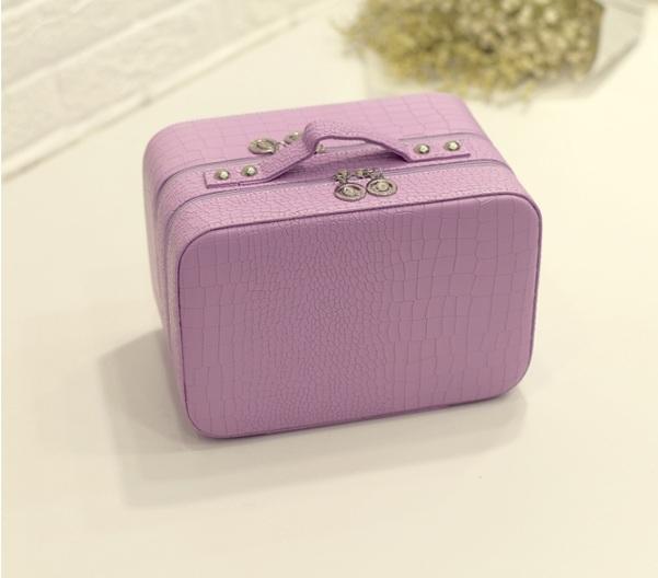 กระเป๋าเครื่องสำอาง croco double box สีม่วง