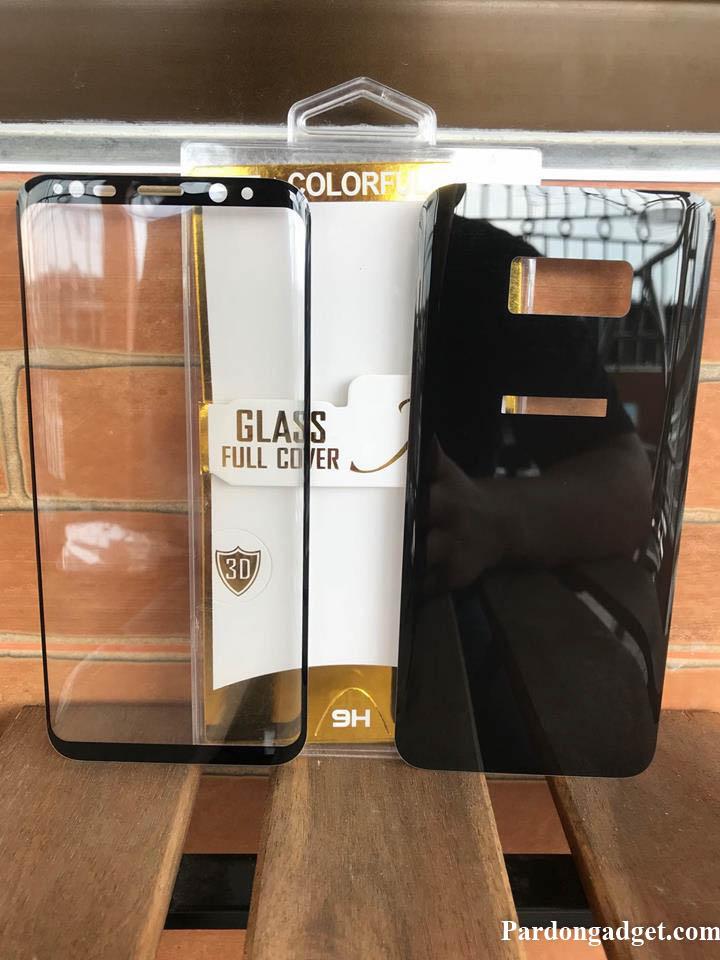 ฟิล์มกระจกเต็มจอ S8 Plus 2in1 กระจกใสหน้า-หลัง สีดำ
