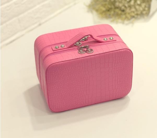 กระเป๋าเครื่องสำอาง croco double box สีชมพู