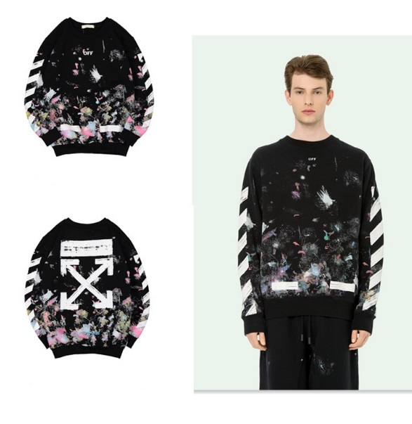 เสื้อ Off-White x Black Diagonal Arrows Galaxy Sweatshirt