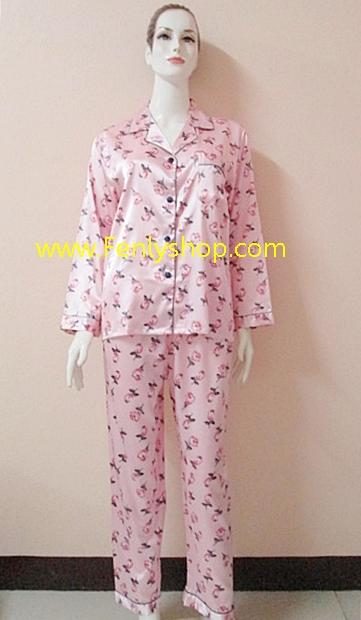 ชุดนอน(ญ)ผ้าซาตินกางเกงขายาวแขนยาว แบบลายดอก โทนสีชมพู ตัวเสื้อรอบอก 40 นิ้ว