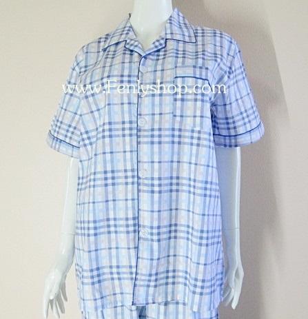 ชุดนอน(ช)กางเกงขาสั้น ผ้า Cotton เกรด เอ แบบลายสก๊อตสีฟ้า+ชมพู คอปก ฟรีไซส์ (F)