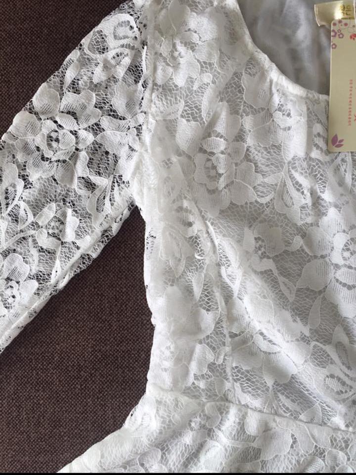 รหัส MN29 เสื้อลูกไม้เนื้อดีแขนยาวสีขาวเข้มเรียบหรู ตัดเย็บเรียบร้อย