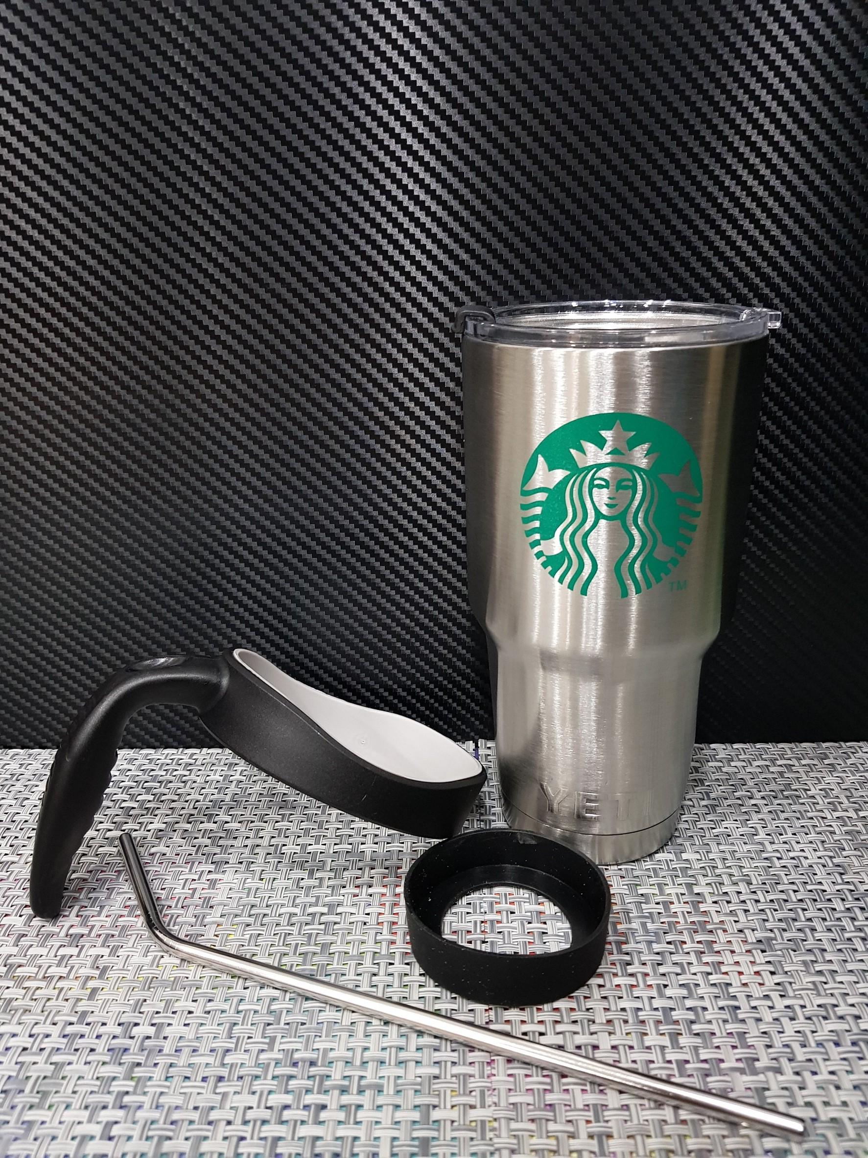 ชุดแก้วเยติ 30 ออนซ์ พื้นสีเงิน โลโก้ สตาร์บัค ลายเส้นสีเขียวอ่อน