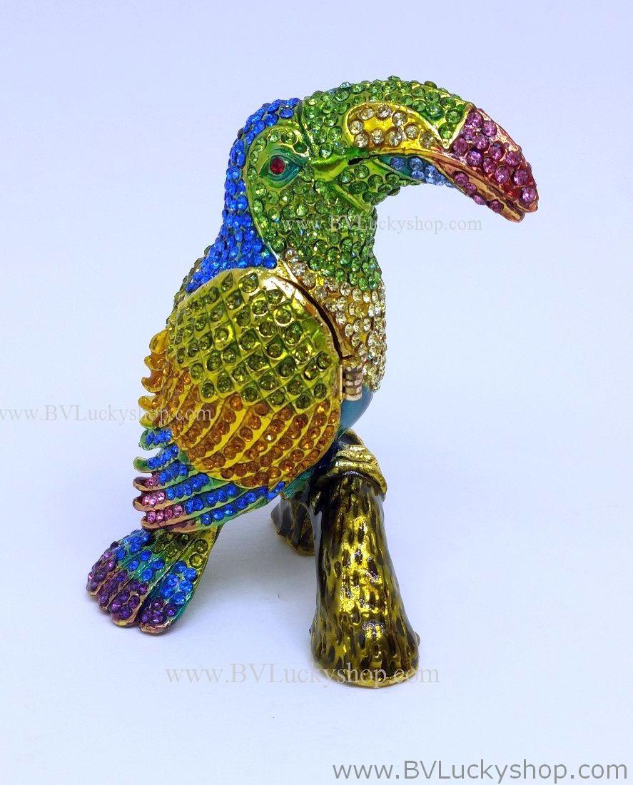 นกทูแคน (Toucan) โลหะ ประดับด้วยเพชรคริสตัล หัวสีเขียว [957-2-Gr]