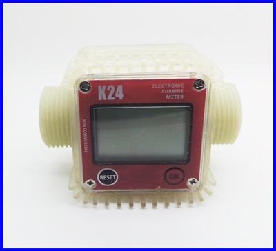 """มิเตอร์วัดปริมาณการไหลของน้ำ 10-120 ลิตรต่อนาที ขนาดท่อเส้นผ่าศูนย์กลาง 1"""" Pro K24 Turbine Digital Diesel Fuel Flow Meter"""
