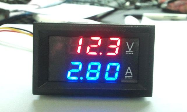 Volt-Amp Meter DC4-30V 10A LED DC แสดงผลแบบคู่ จอสีฟ้า-แดง