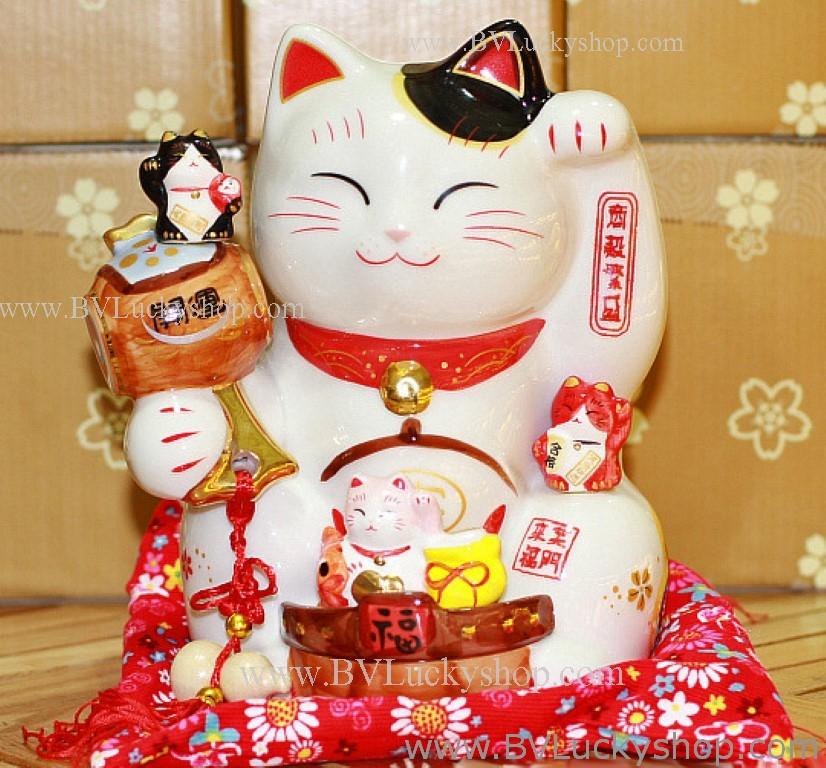 แมวกวัก แมวนำโชค สูง7.5นิ้ว ถือค้อน ให้โชคลาภ [801W] - สีขาว