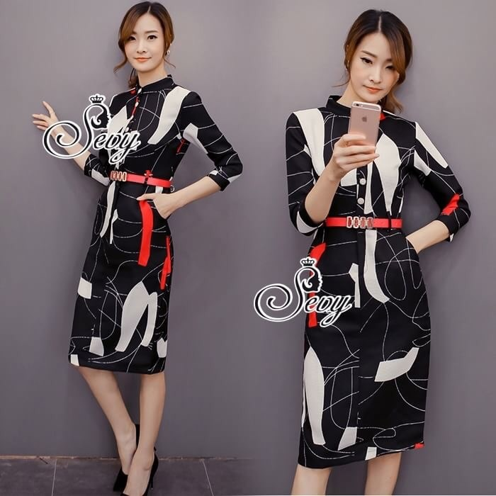 Modern Graphically Pencil Dress