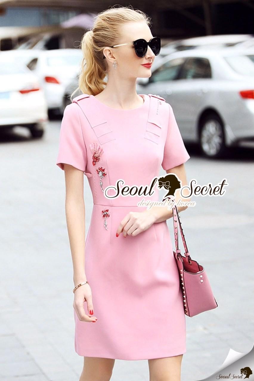 Peachy Coral Pink Diamond Dress