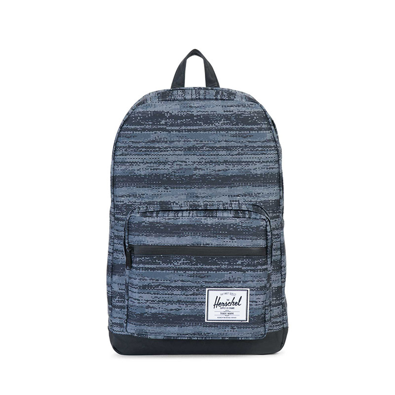 Herschel Pop Quiz Backpack - White Noise / Black Synthetic Leather
