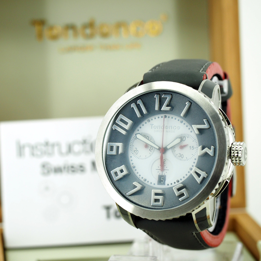 Tendence Swiss Made Steel Watch - Silver / Red