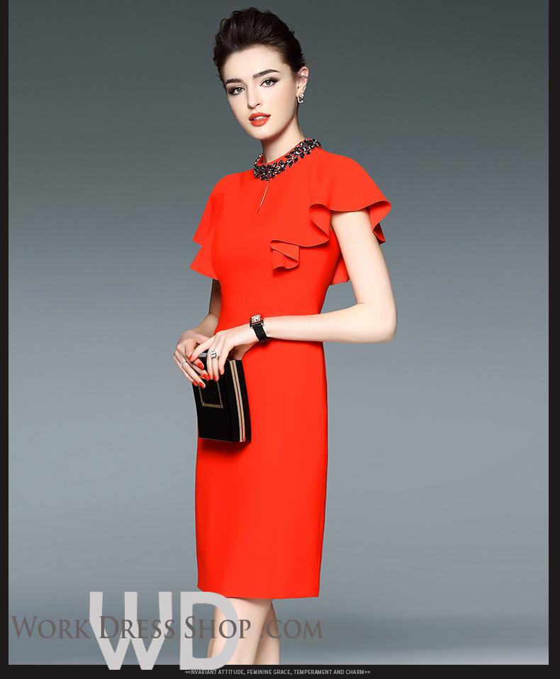 Preorder ชุดทำงาน สีแดงส้ม ดีเทลคริสตัลรอบคอสวยหรู ช่วงแขนระบายเก๋ เดรสทรงเข้ารูปสวย