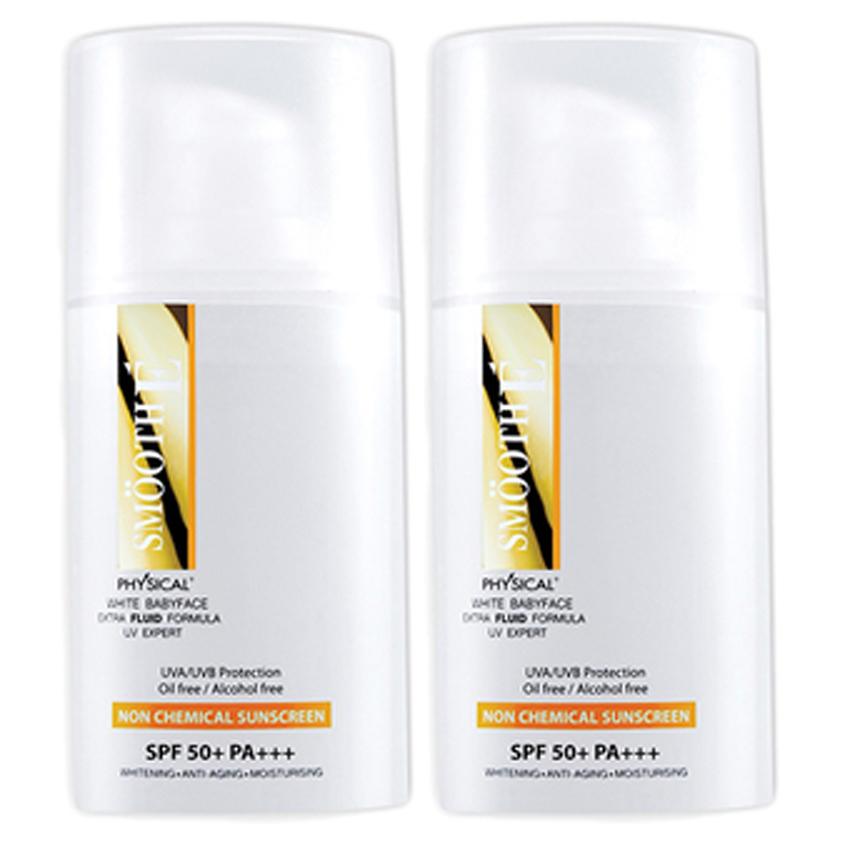 Smooth E Physical White Babyface UV Expert Extra Fluid SPF 50+ PA+++ สมูท อี ฟิสิคอล ไวท์ ซันสกรีน SPF 50+ PA+++ (2 อัน) สูตรใหม่! บางเบากว่าเดิม ไม่ทิ้งคราบขาว ล้างออกง่าย