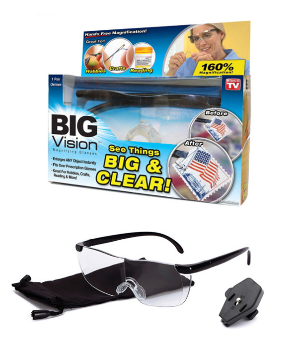 BIG VISION Glasses แว่นตาขยายไร้มือจับ กำลังขยาย 160% แถมฟรี LED Clip