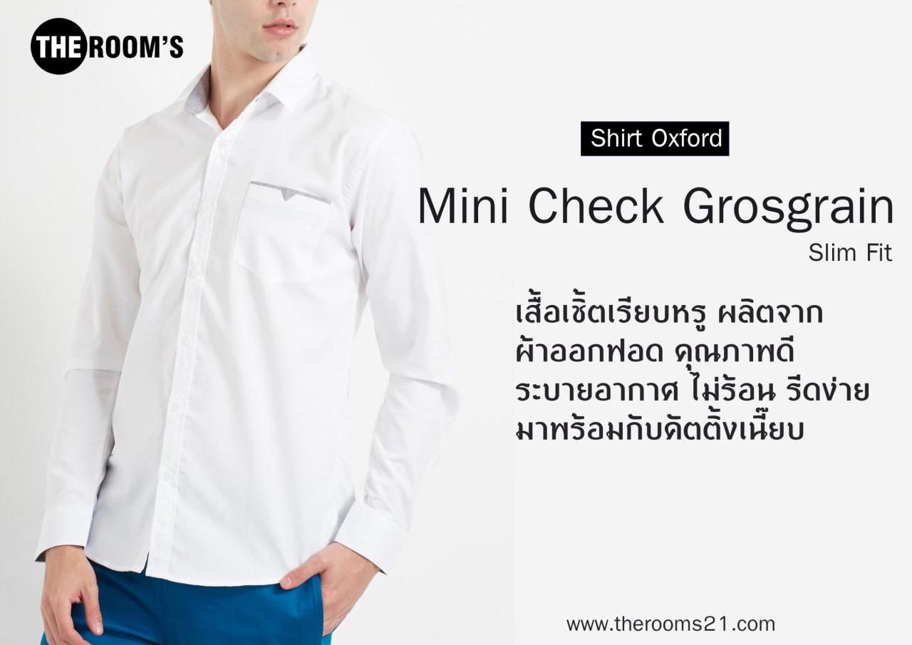 เสื้อเชิ๊ตแขนยาว Mini Check Grosgrain White