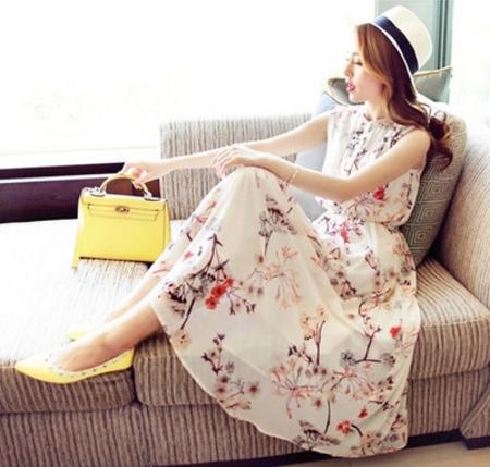 Maxi dress ชุดเดรสยาว ชีฟองลายดอก