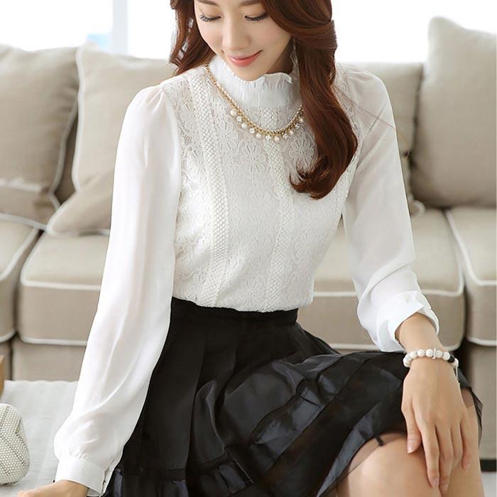เสื้อลูกไม้แฟชั่นเกาหลีสวยๆ สีขาว แขนยาว เสื้อลายลูกไม้+ชีฟอง ใส่ออกงาน
