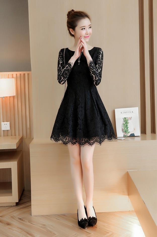 ชุดเดรสลูกไม้ ชุดผ้าลูกไม้สวยๆ น่ารักๆ แฟชั่นเกาหลี มีสีดำ เดรสลูกไม้ ส่งฟรี EMS แขนยาว ซิบหลัง มีซับใน ใส่สบายๆ