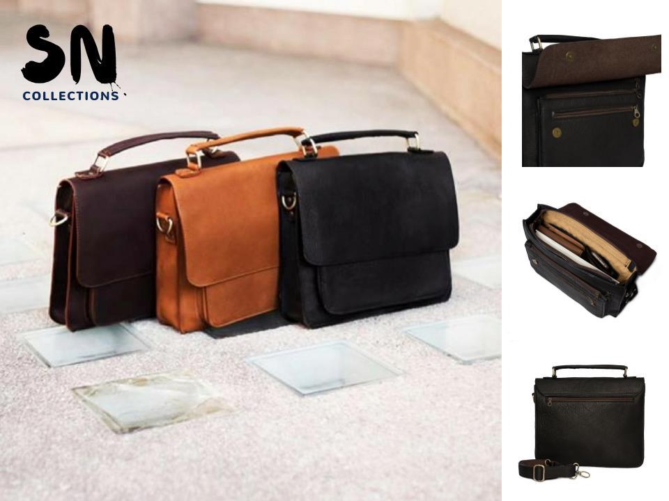 กระเป๋าสะพายข้าง กระเป๋าถือ กระเป๋าเอกสารแฟ้มขนาด A4 กระเป๋า Note Book ขนาดไม่เกิน 14นิ้ว เป็นกระเป๋าหนังแท้ เหมาะสำหรับผู้ชาย