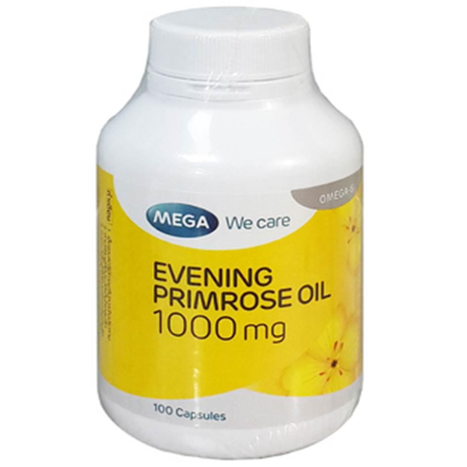 Mega We Care Evening Primrose Oil EPO 1000mg 100 เม็ด อีฟนิ่งพริมโรส ลดอาการวัยทอง ผิวเนียนเปล่งปลั่ง