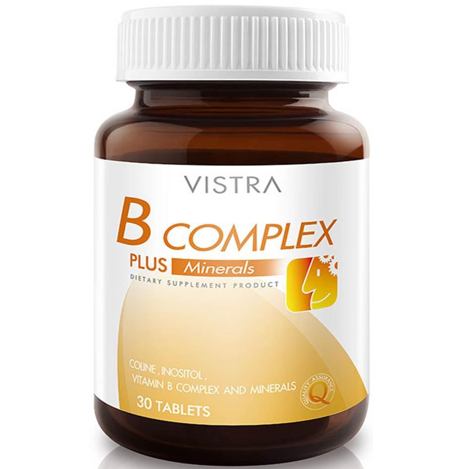 Vistra B-Complex Plus Minerals 30 เม็ด บีคอมเพล็กซ์ วิตามินบีรวม