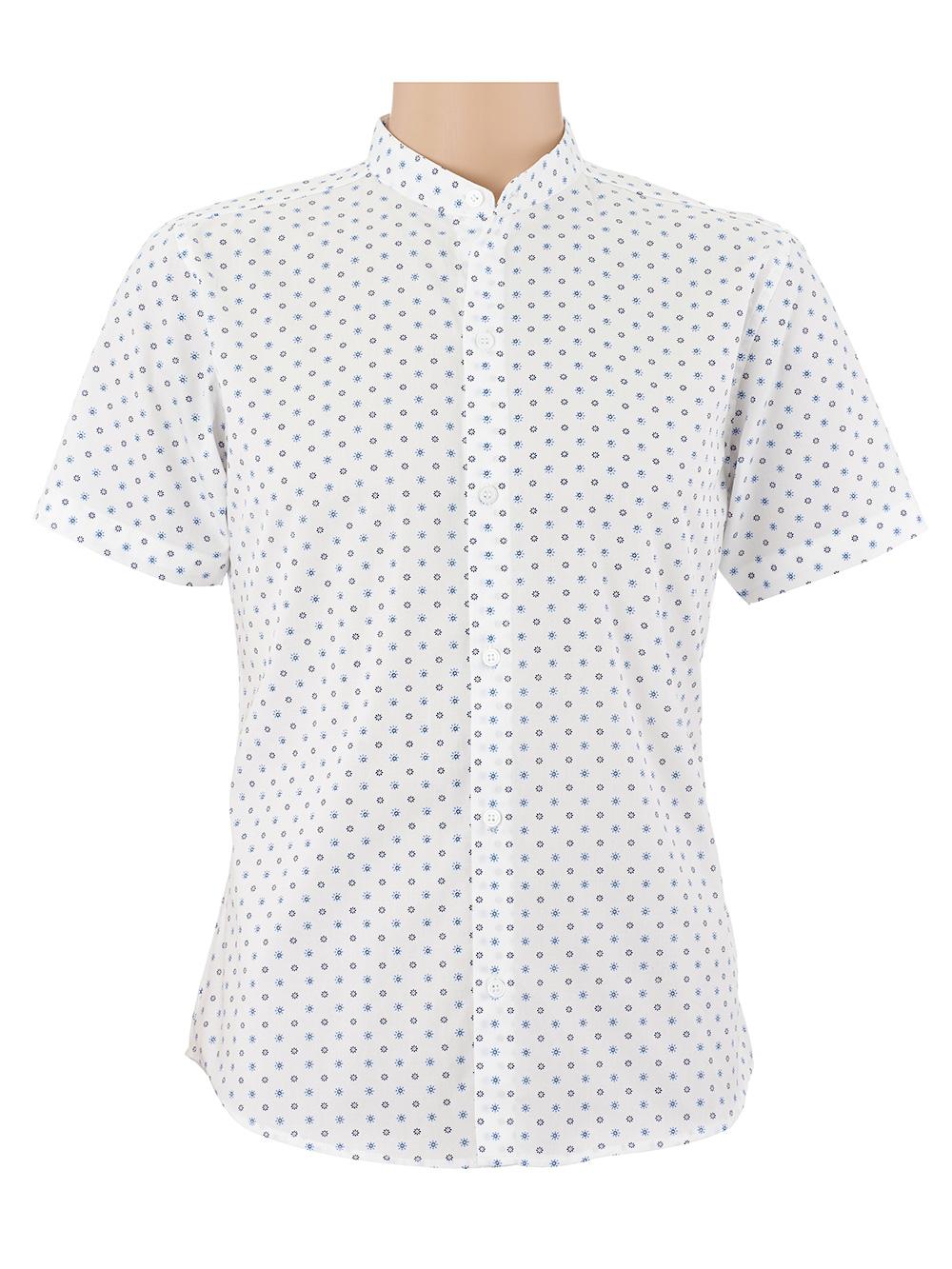 เสื้อเชิ้ตผู้ชายแขนสั้น คอจีน สีขาว พิมพ์ลายดอก