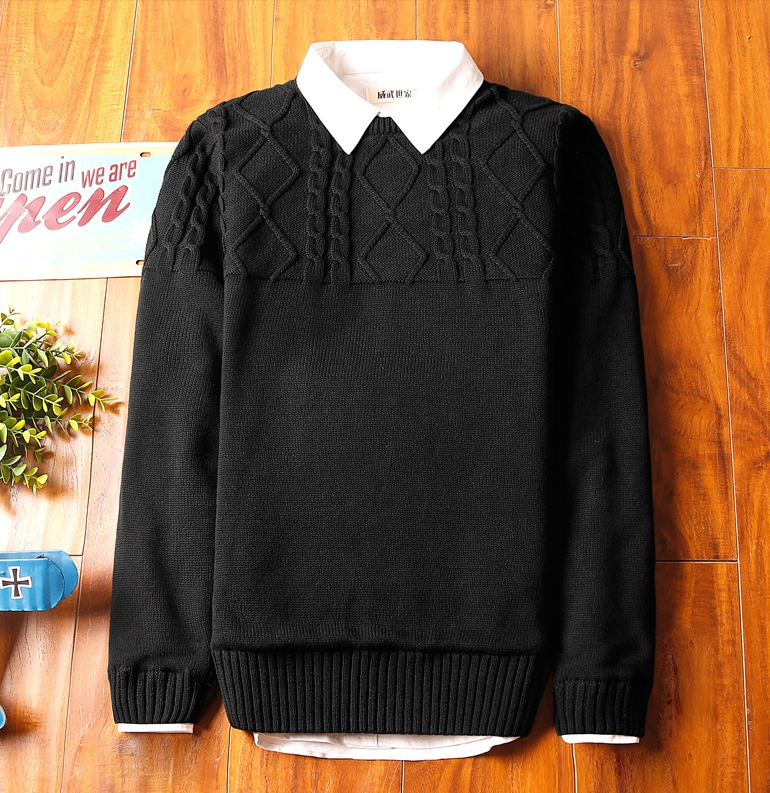 Super warm ticker men's sweater (สีดำ)