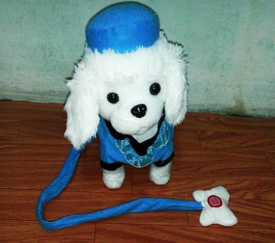 ตุ๊กตาหมาเดินได้ ส่ายก้นได้ มีเสียงเพลง (มาใหม่ล่าสุด) สีขาวใส่หมวก