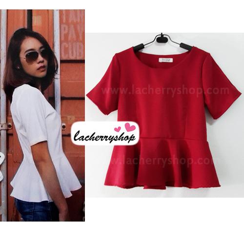 เสื้อแฟชั่น สีแดง ผ้าฮานาโกะ ทรงสวย เนื้อผ้านิ่ม อยู่ทรง ไม่ยับง่าย ใส่สบาย สินค้าคุณภาพ ราคาไม่แพง