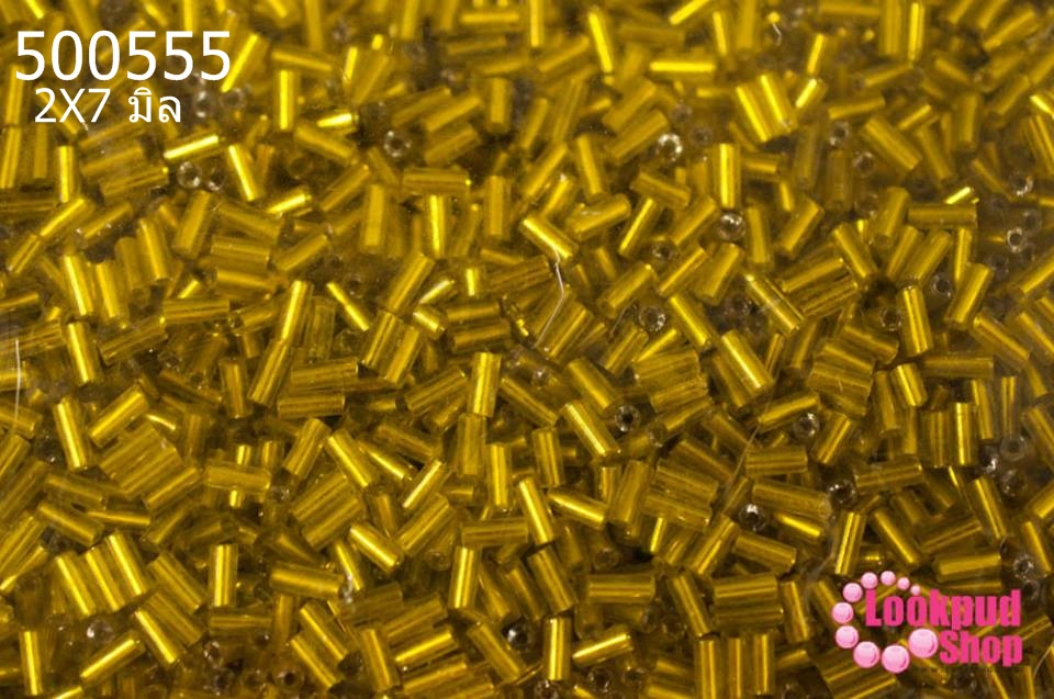 ลูกปัดจีน ปล้องยาว สีเหลืองหม่น 2X7มิล(1ถุง/450กรัม)