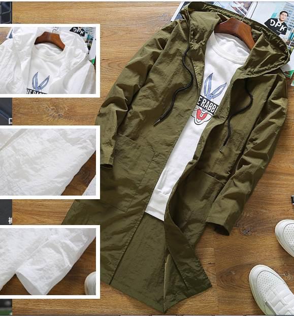 เสื้อกันแดด แจ็กเก็ตยาว มีฮูด โปร่ง สีขาว No.44 46