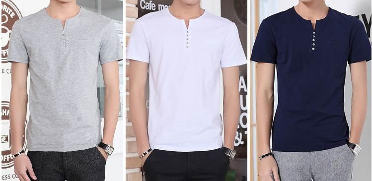 เสื้อยืดคอวี สลิมฟิต T shirt แฟชั่น กระดุม5 No.35 37 39 41 43