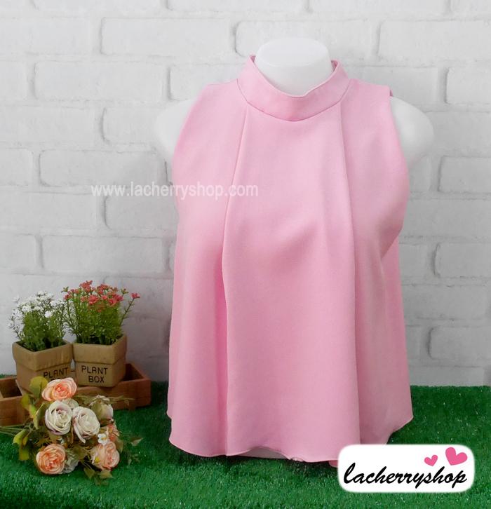 เสื้อแฟชั่น เสื้อทำงาน ผ้าฮานาโกะ แบบสวย สีชมพู คอจีน แขนกุด ใส่ได้หลายโอกาส เนื้อผ้า อยู่ทรง ไม่ยับง่าย ใส่สบาย สินค้าคุณภาพ ราคาไม่แพง