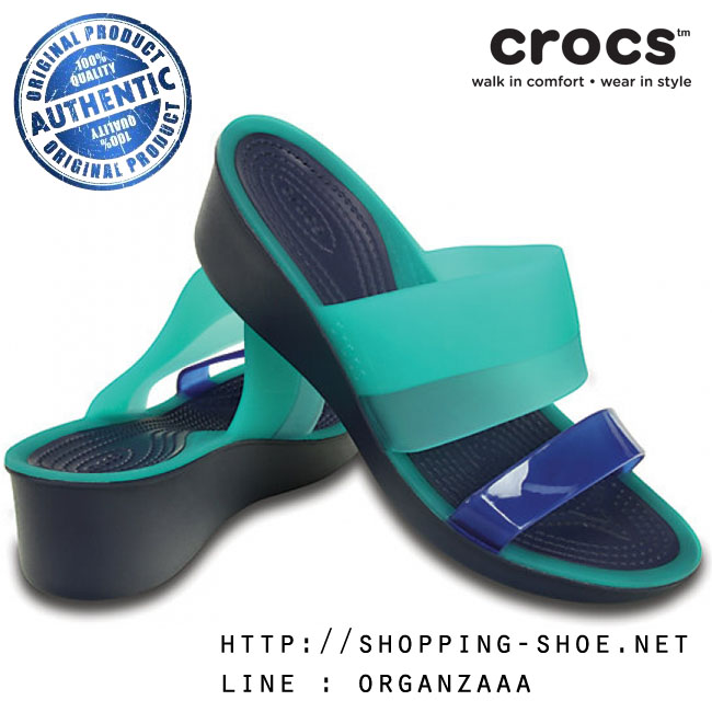 W6 (23.5 cm.) : Crocs Colorblock Mini Wedge - Tropical Teal / Nautical Navy ของแท้ Outlet ไทยและอเมริกา