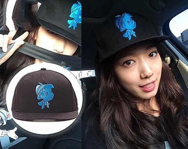 หมวกแฟชั่นเกาหลี เบสบอล Pinocchio ปาร์คชินเฮ (สีดำ น้ำเงิน)