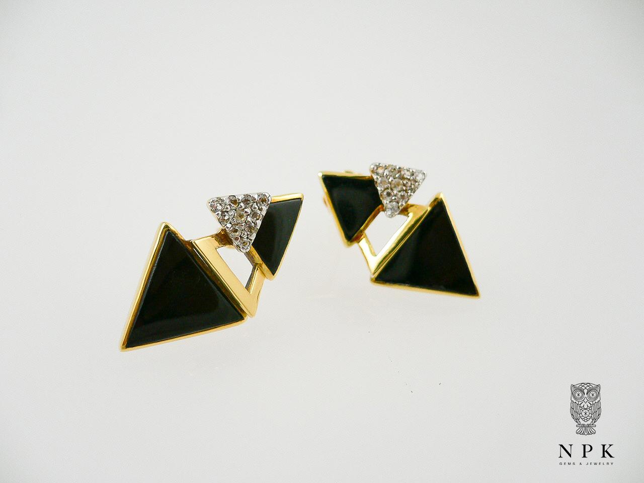 ต่างหูนิล (Onyx Earring with White Topaz)