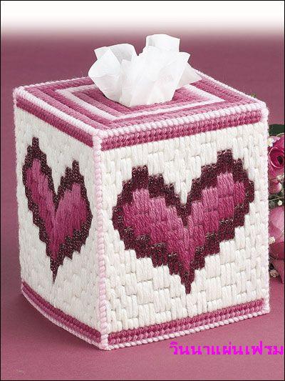 ชุดปักแผ่นเฟรมกล่องทิชชูลายหัวใจ