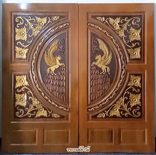ประตูไม้สักบานคู่ แกะม้า รหัส BB22