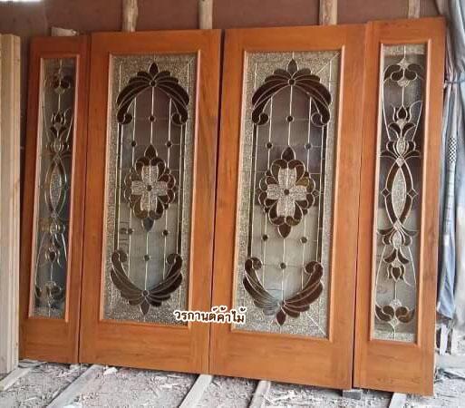 ประตูไม้สักกระจกนิรภัย ชุด4ชิ้น รหัส AAA32