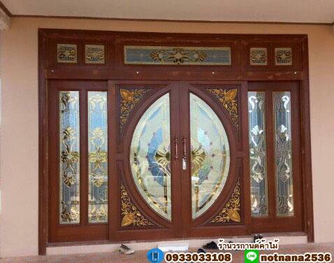 ประตูไม้สักกระจกนิรภัย บานเลื่อน ชุด7ชิ้น รหัส AAA37