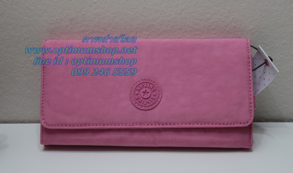 Kipling New Teddi Pink Macaroon หรือชื่อเดิม Brownie กระเป๋าสตางค์ใบยาว ขนาด 7.5x3.75x1xนิ้ว